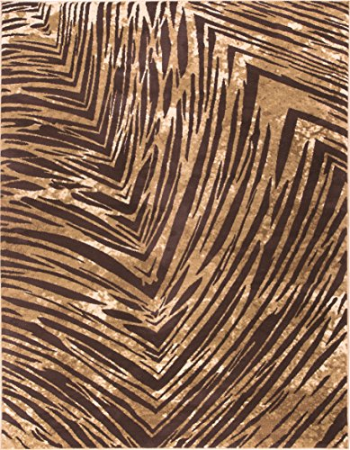 Well Woven Eventful Spirit Brown & Beige Animal Print Area Rug Abstract Brushstrokes Zebra Stripes