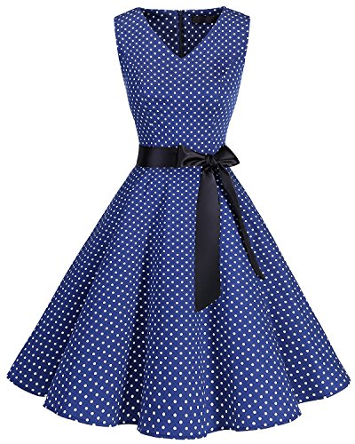 Bridesmay Women's V-Neck Audrey Hepburn 50s Vintage Elegant Floral Rockabilly Swing Cocktail Party Dress Navy Small White Dot L