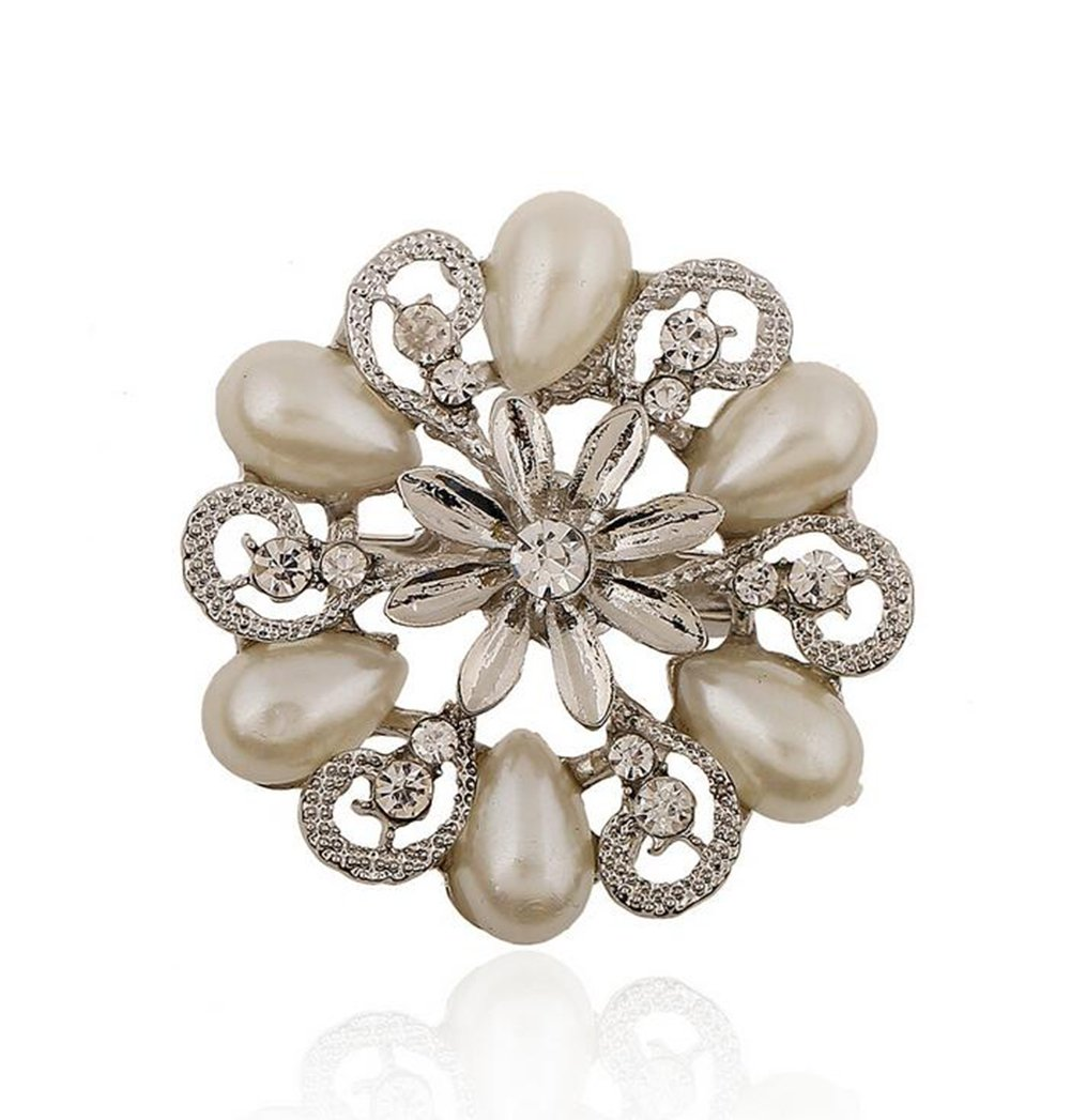 Hosaire Girl's Delicate Hollow Flower Brooch Pin With Rhinestones Women's Fashion Jewelry