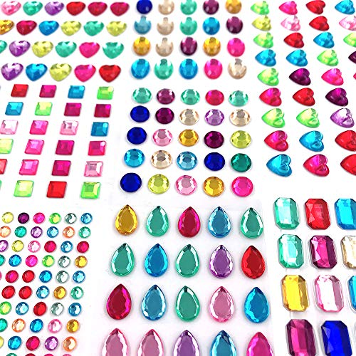 Self Adhesive Jewels Stickers,Flat Back Rhinestone Stickers Gem Stickers Self Adhesive Bling Jewels for Crafts(365 Pieces)