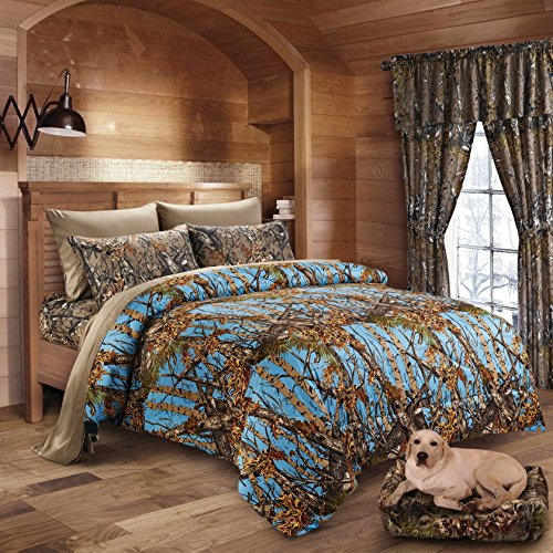 20 Lakes Luxurious Microfiber Powder Blue & Brown Camo Comforter & Sheet Set Bed in a Bag - Queen