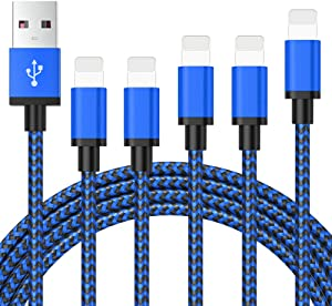 Fast Charging for iPhone Charger, MFi Certified 5 Pack 3/3/6/6/10FT Nylon Braided Lightening to USB A Cable Data Sync Cord Compatible iPhone 11 Pro Max XS MAX XR XS X 8 7 Plus 6S 6 SE and More