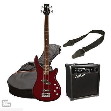 Ashton spab4 transparente rojo pack bajo eléctrico Pack con Amplificador, funda y correa