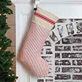 Piper Classics Farmhouse Ticking Red Christmas Stocking, 12x20, w/Jingle Bells