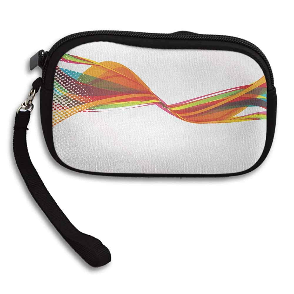 Abstract Zipper Small Purse Wallets Rainbow Curved Wave Smoke like Image with Pixel Style Detailed Work of Art Print W 5.9x L 3.7 Purse For Women Girls