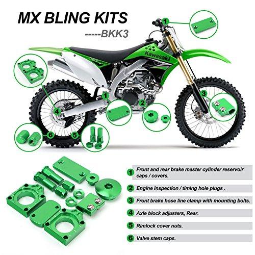 TARAZON Green CNC Bling Kit for Kawasaki KX450F 2009-2016 KX250F 2008-2016 KLX450R 2008-2014