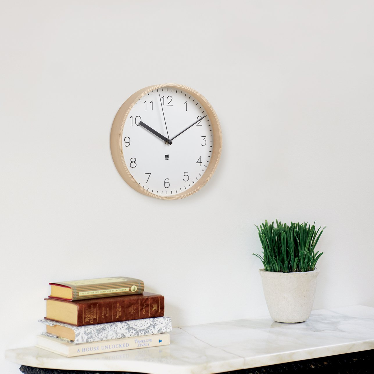 Amazon umbra rimwood clock whitenatural home kitchen amipublicfo Image collections