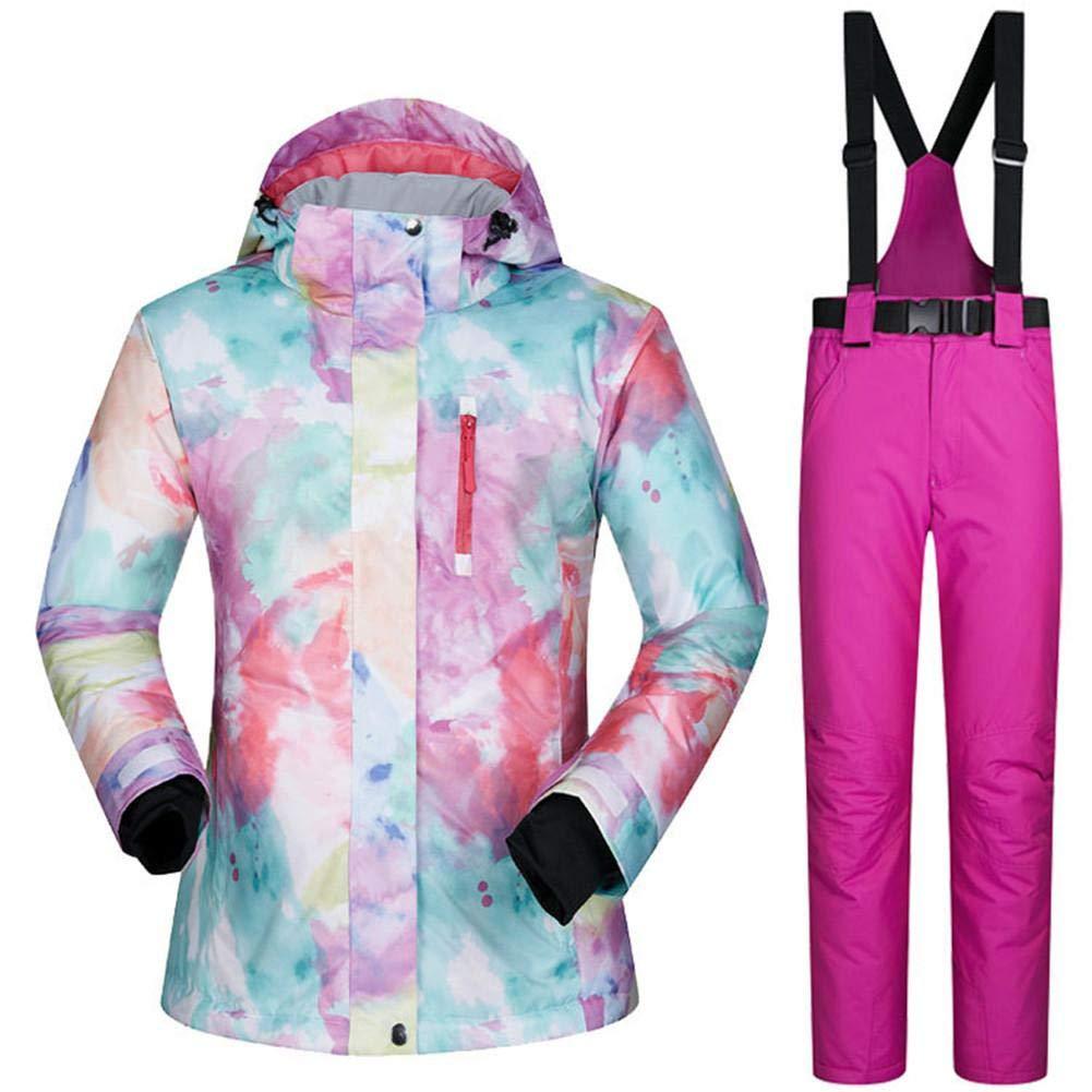 Easylifee スノーボードウェア スキーウェア 上下セット レディース 防風 保温 アウター ジャケット パンツ カラー+ローズレッド X-Large