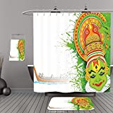 Uhoo Bathroom Suits & Shower Curtains Floor Mats And Bath TowelsAsian Ritualistic Indian Asian Ceremonial Dance Figure and Boat on River Illustration Green and WhiteFor Bathroom
