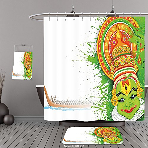 Uhoo Bathroom Suits & Shower Curtains Floor Mats And Bath TowelsAsian Ritualistic Indian Asian Ceremonial Dance Figure and Boat on River Illustration Green and WhiteFor Bathroom by UHOO
