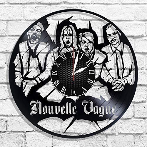 BombStudio Nouvelle Vague Vinyl Record Wall Clock, Nouvelle Vague Handmade for Kitchen, Office, Bedroom. Nouvelle Vague Ideal Wall Poster