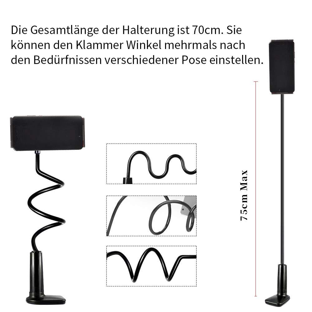 Racksoy 360-Grad Verstellbare Schwanenhals-Tablet-Telefon Stehen Handy Halter, Handy Halterung, Flexible Lange Faule Arm Clip Phone Mount für iPad iPhone-Serie/Samsung Galaxy-Serie und Vieles Mehr