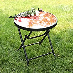 "Captiva Designs 18"" Patio Small Side Table-Little Folding Glass Table, Red"