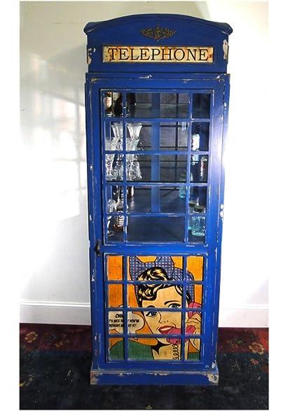 Amazon.com: British Phone Booth BLUE Wine Liquor Cabinet with ...