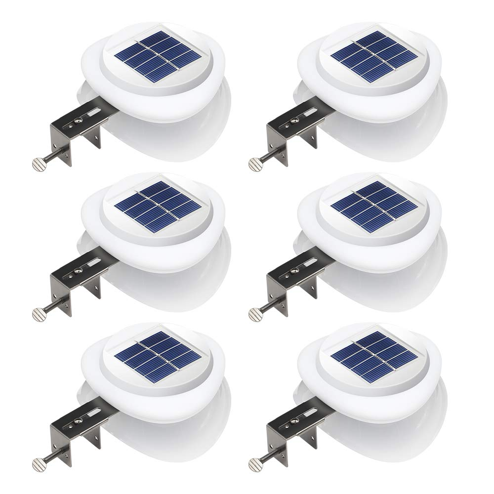 DBF Outdoor Solar Gutter Lights【Upgraded Version】Solar Fence Post Lights Wall Mount Decorative Deck Lighting with Auto On/Off Dusk to Dawn (Pack of 6) …