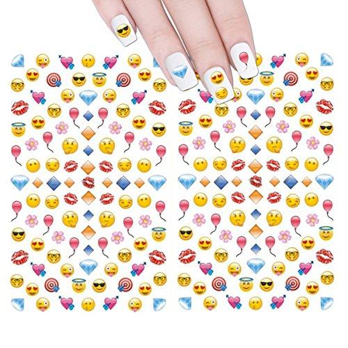 ALLYDREW 200+ Emoji Nail Stickers Nail Art Emoji Nail Decals Childrens Nail Stickers
