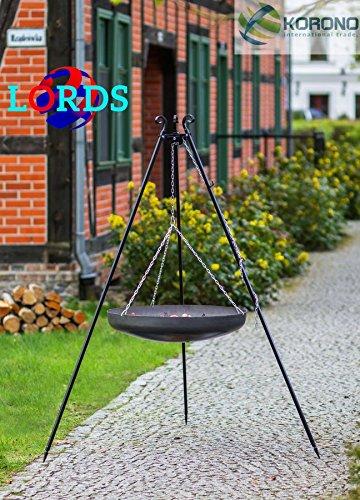 131schwarz Stahl 70cm Grill auf Stative Schüssel 2,0mm Hand Made Hochwertige Verarbeitung Made in Polen