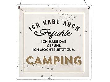 Interluxe Xl Holzschild Vintage Shabby Ich Habe Auch Gefuhle Camping