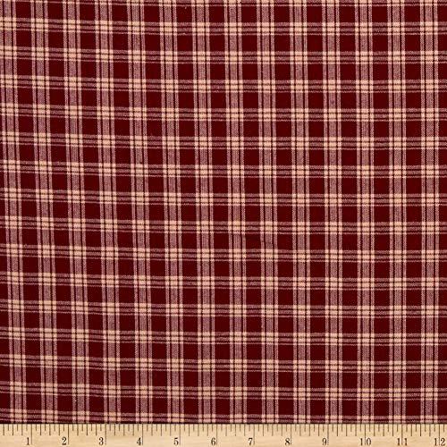 Homespun Burgundy & Cream Plaid Fabric