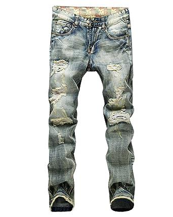 selezione straordinaria super speciali aspetto dettagliato Uomo Jeans Strappati Pantaloni In Denim Uomini Straight ...
