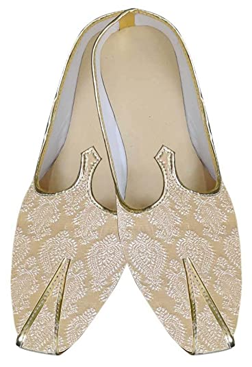 Mens Ivory Brocade Shoes Indian Wedding MJ0028