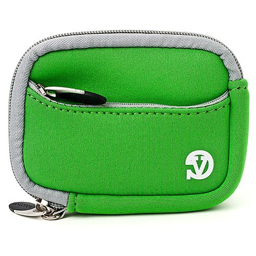 VanGoddy Mini Glove Sleeve Pouch Case for Canon PowerShot S120, S110, S100, S95, S90 Point & Shoot Digital Cameras (Green Gray Trim)