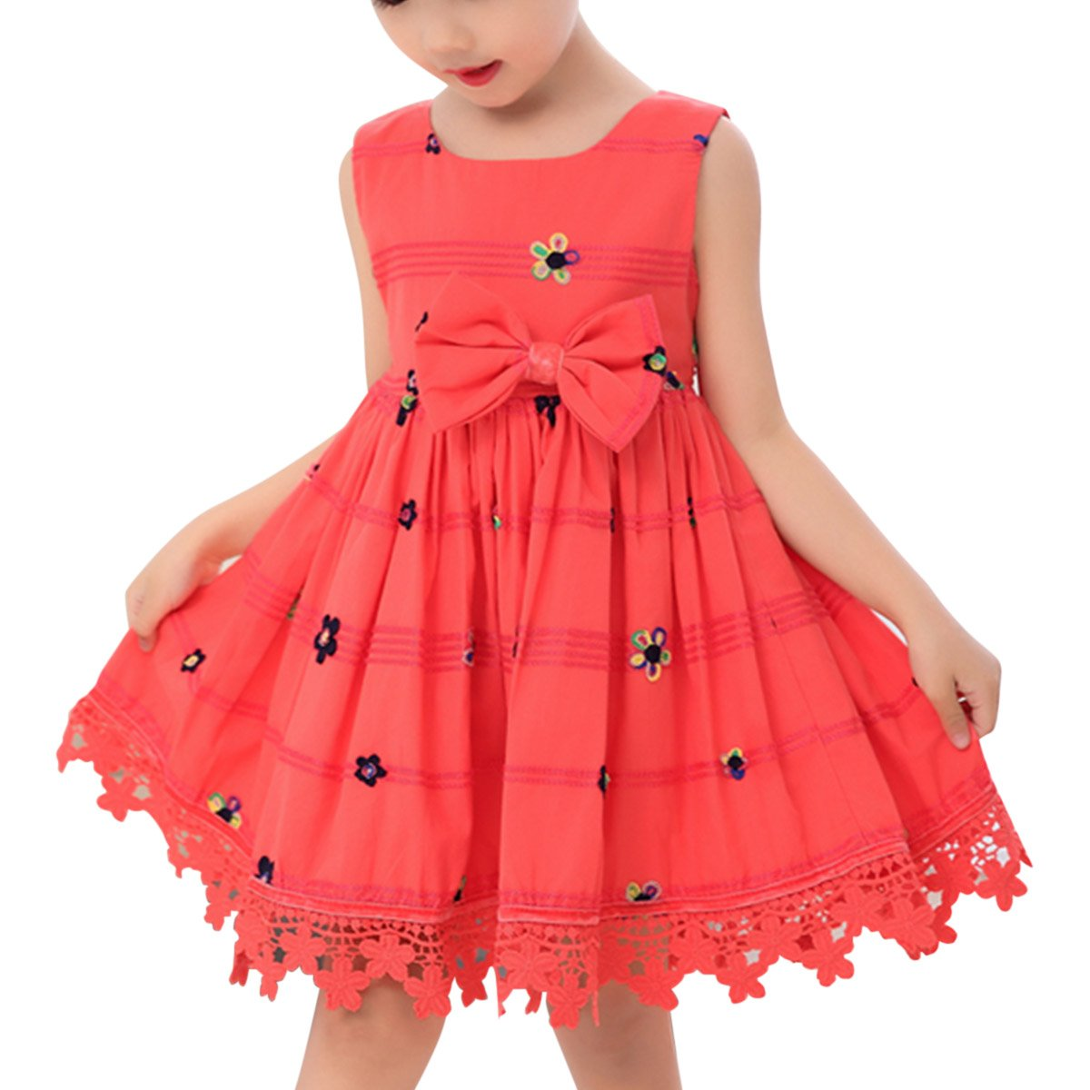 SUOSI BAG Girls' Sleeveless Dress Floral Swing Kid Party Dress Skirt with Flowers Embroidery Lace Sash and Bowknot (Bright red, 100cm for 3-4YS)