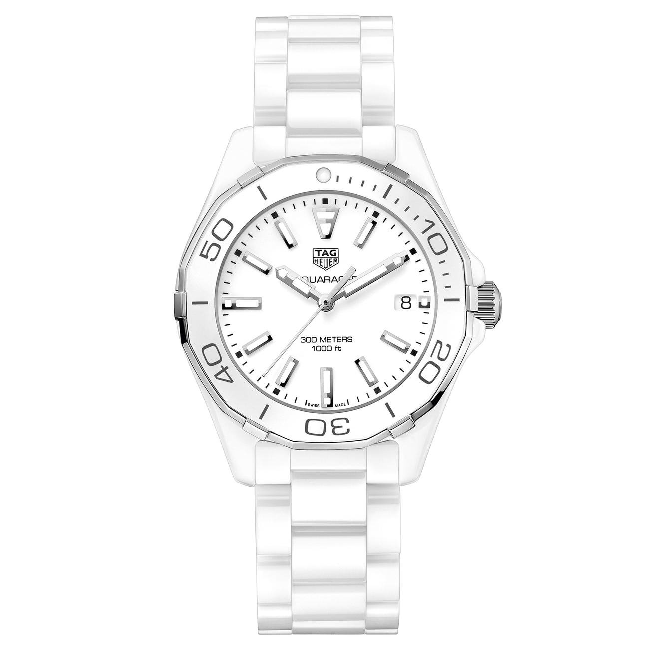cac94924865 Amazon.com  Tag Heuer Aquaracer Lady 300M 35mm White Ceramic Watch  WAY1391.BH0717  Watches