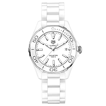 254d7fd64eca3 Image Unavailable. Image not available for. Color  Tag Heuer Aquaracer Lady  300M 35mm White Ceramic Watch ...