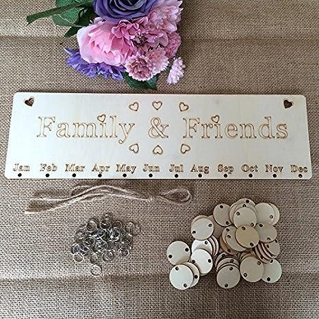 Gorgebuy Calendrier danniversaire en Bois Rappel Plaque Home Decor DIY Famille Amis Anniversaire Pancarte Sp/écial Dates Planner