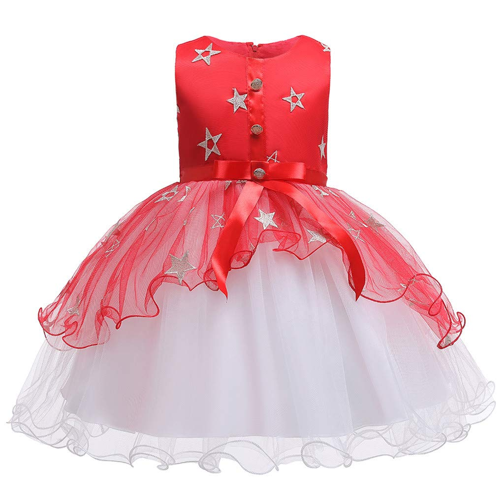 Baby Girls Halloween Princess Dress, Toddler Kids Star Vintage Party Tulle Gown Dress + Cosplay Witch Hat Pageant Costumes Red by F_Gotal Children Clothing