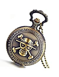 Lancardo Antique Bronze Anime Skull Quartz Pocket Watch Chain New with Gift Bag