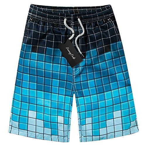 Men's Printing Quick Dry Beach Board Shorts Swim Trunks, Blue-plaid, M(waist:30
