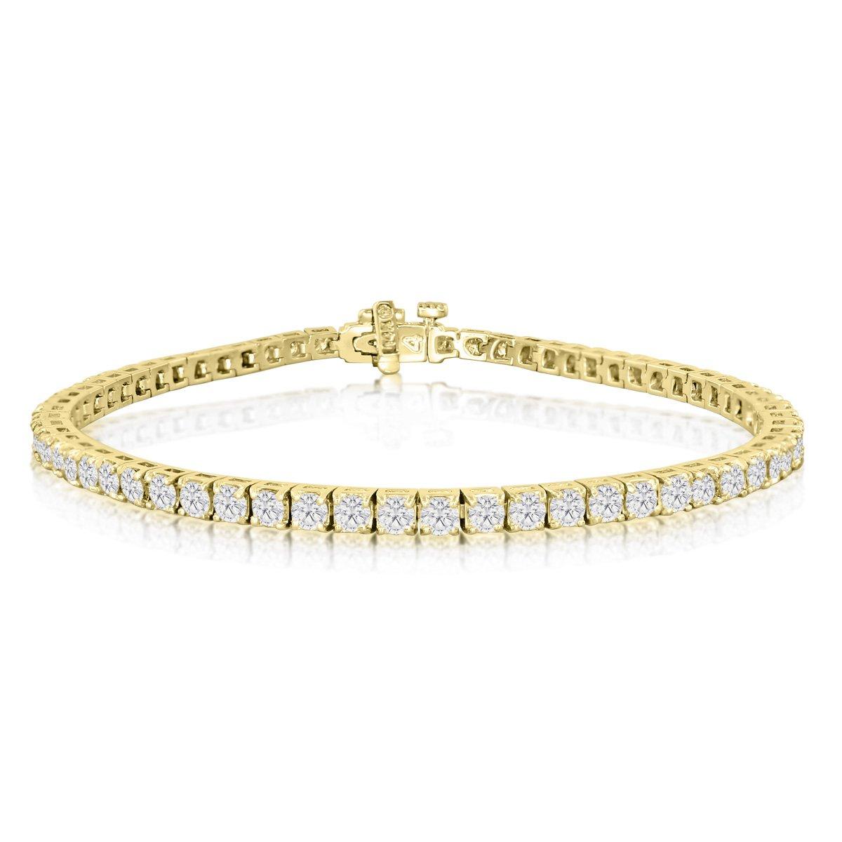AGS Certified 14 Karat Yellow Gold 4 1/4 Carat Diamond Tennis Bracelet, Round Shape, 8 Inches