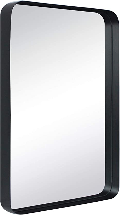Amazon Com Tehome 20x30 Black Metal Framed Bathroom Mirror For Wall In Stainless Steel Rounded Rectangular Bathroom Vanity Mirrors Wall Mounted Home Kitchen