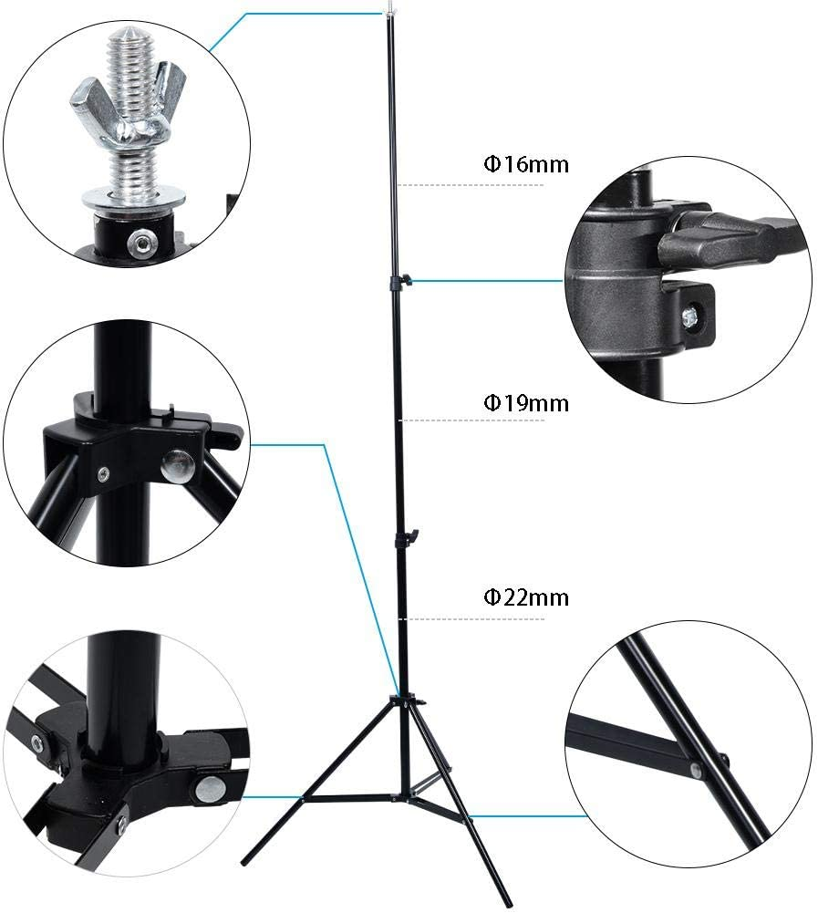Adjustable Folding Photography Background Stand Holder Light Stand Support System Kit with Carring Bag for Photography Photo Video Studio 2 x 3m Backdrop Stand