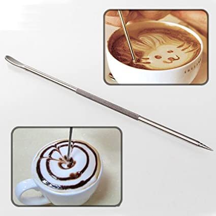 Best Garden Tools New 1Pc Useful Stainless Steel Barista Cappuccino Latte Espresso Coffee Decorating Pen Art