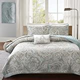 4 Piece Blue Grey Paisley Coverlet Full Queen Set, Gray Medallion Floral Pattern Geometric Jacquard Damask Theme Bedding Modern Shabby Chic French Country Motif Reversible Quilted Texture, Polyester