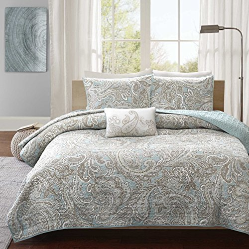 4 Piece Blue Grey Paisley Coverlet Full Queen Set, Gray Medallion Floral Pattern Geometric Jacquard Damask Theme Bedding Modern Shabby Chic French Country Motif Reversible Quilted Texture, Polyester by N-A