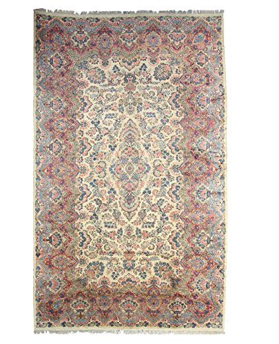 (EORC X33314 Ivory Hand Knotted Wool Kerman Rug (11'6 x 19'))