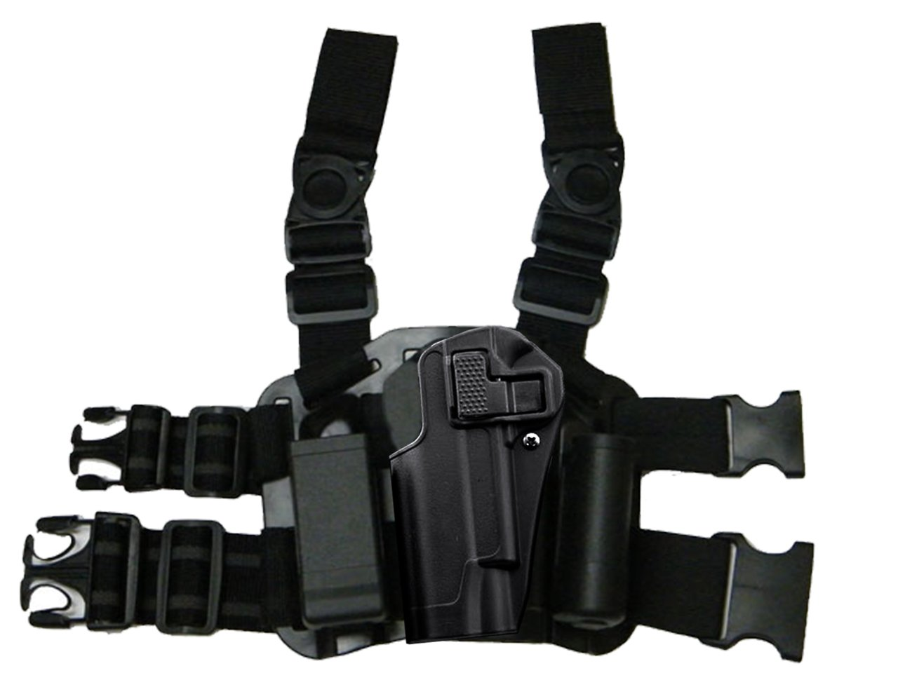 Left Handed Tactical Dropleg Drop Leg 1911 Holster Magazine Flashlight Pouch Airsoft Military Black