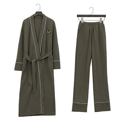 Peignoirs ZLR Hommes Printemps Automne Saison à manches longues Pur Coton Jeunesse Vêtements de Maison Set (Pantalons