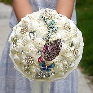 KUKI SHOP Handmade Romantic Roses Butterfly Brooch Wedding Bouquet Free Wrist Corsage Bridal Holding Bouquet Bridal Throw Bouquet Bridesmaid Bouquet Wedding Decoration Flowers 5