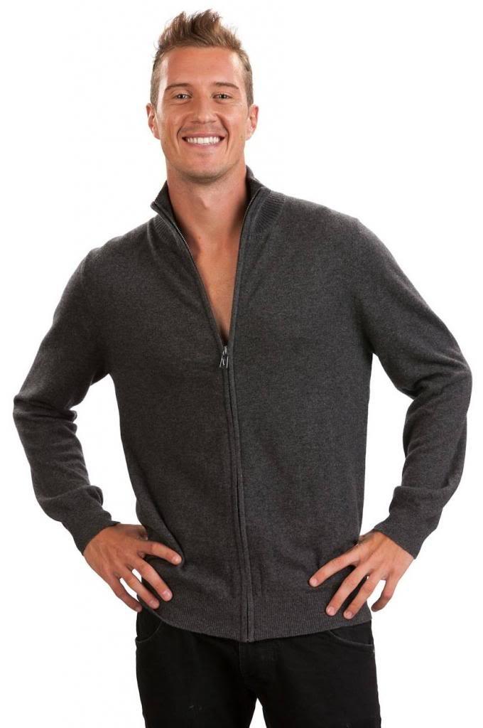 Men's Zip Cardigan - 100% Cashmere - by Citizen Cashmere, Dk Gr XL 42 103-09-04 by Citizen Cashmere (Image #3)