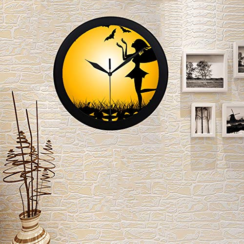 COLORSFORU Custom Halloween Pumpkin Meaning Trick Treat Fairy Elegant Black Silver Wall Clock Decor for Office Home Living -