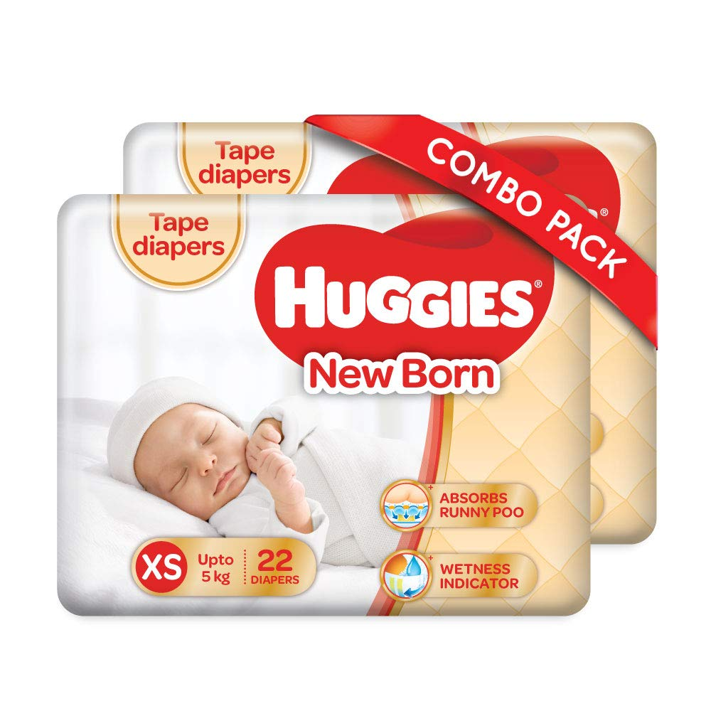 Huggies Taped Diapers, New Born (XS) Size, Combo Pack of 2, 22 Counts Per Pack, 44 Counts