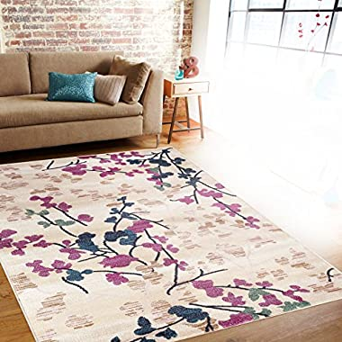 Rugshop Contemporary Floral Area Rug, 5'3  x 7'3 , Cream