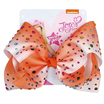 Clips JoJo Girls Siwa Signature Collection Coral W//Rhinestone Large Hair Bow /""