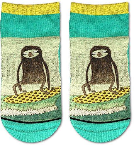 Good Luck Sock Men'S Surfing Sloth Ankle Socks - Green, Adult Shoe Size 7-12 -