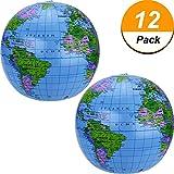Pangda 16 Inch Inflatable Globe of World Inflatable Earth Ball Inflatable World Globe Beach Ball for Kids, Blue (12)